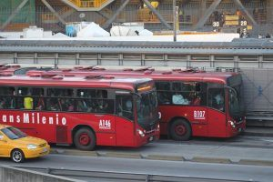 Busses in Bogota. is bogota safe for tourists.