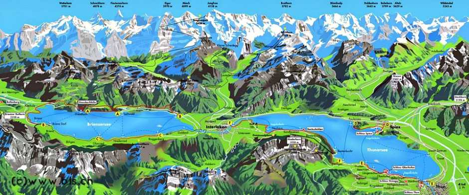 Lake Thun and Lake Brienz map
