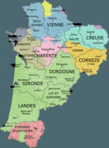 Aquitaine Limousin Poitou Charentes Departments