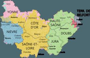 Bourgogne Franche Comte Departments