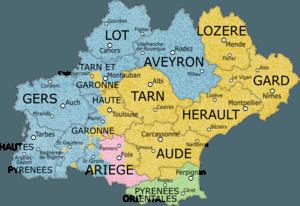 Languedoc Roussillon Midi Pyrenees Departments